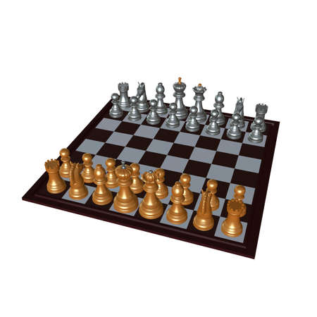 enemies: 3d illustration of chess  situation with figures