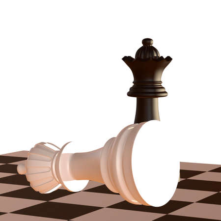 defeated: 3d illustration of chess  situation with figures