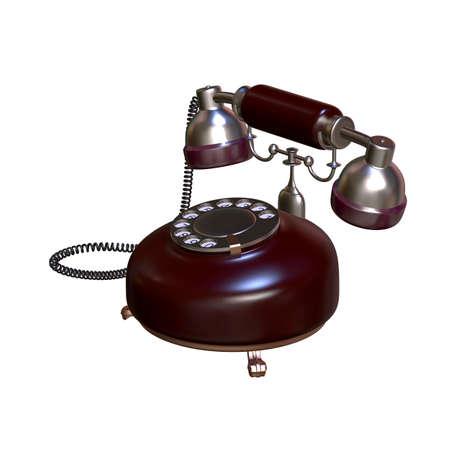 retro style dial vintage phone 3d illustration Stock Photo