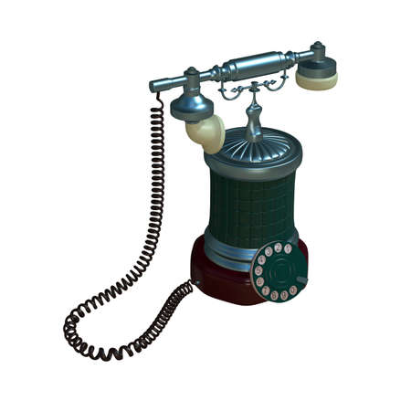 phone cord: retro style dial vintage phone 3d illustration Stock Photo