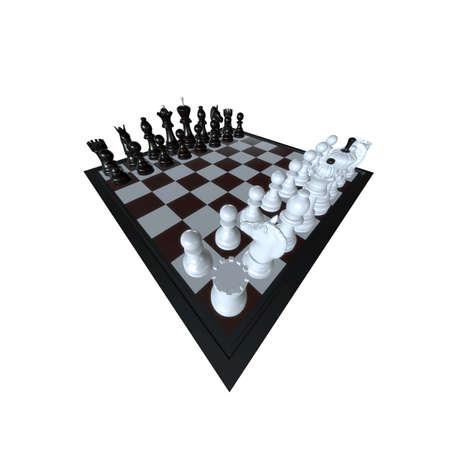 dominance: 3d illustration of chess  situation with figures