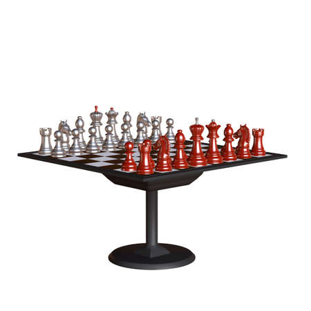 3d illustration of chess  situation with board