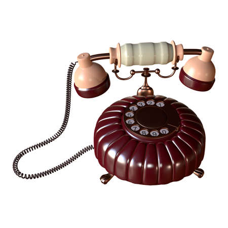 corded: retro style dial vintage phone 3d illustration Stock Photo