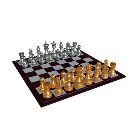 3d illustration of chess  situation with figures