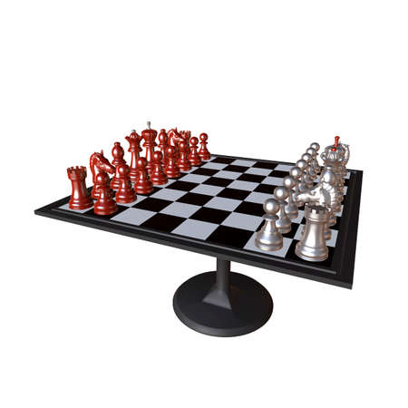 chess rook: 3d illustration of chess  situation with board