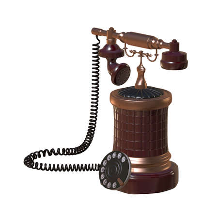 telephone cord: retro style dial vintage phone 3d illustration Stock Photo