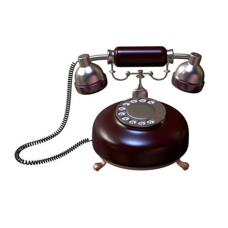 vintage phone: retro style dial vintage phone 3d illustration Stock Photo