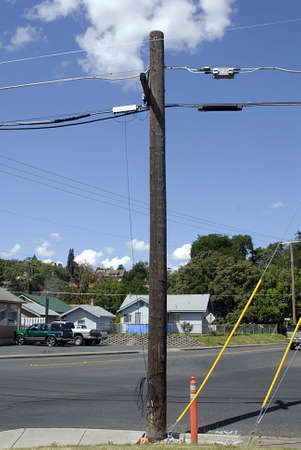idaho state: LEWISTON  IDAHO STATE USA  . Old type wood el powwer poles 12 July 2010           (PHOTO BY FRANCIS JOSEPH DEAN  DEAN PICTURES) Editorial
