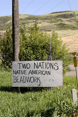 sweetwater: SWEETWATER   IDAHO STATE USA  Tow nations Native American beadwork billboard and  Nez perce indian reservation . 15 July 2010