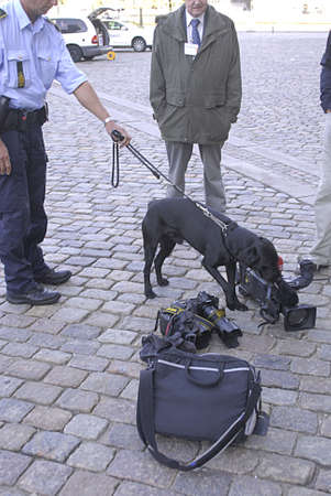foreign secretary: DENMARK  COPENHAGEN .Danish police dog check security journ alists bags and photographer bag and camera before arrival of Nato Secretary Anders Fogh Rasmussen meeting with danish minister for foreign affaris Lene espersen tdoay 31 August 2010       Editorial