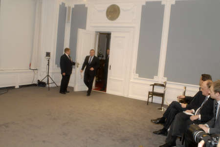 pm: DENMARK  COPENHAGEN_  Lras Loekke Rasmussen  Danish prime minister holds his first 2010 new year press conference at Mirror Hall Christiansborg prime minister office , Pm said regarding hejab and Burkh we have danish valure wee look each other and look i