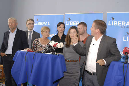 liberal: DENMARK  COPENHAGEN .  Anders Samuelsen chairman of danish Liberal Alliance political party presnts his new parti candidate for comming general elections,in Photo group are Mette Bock sister of Samuelsen and former Editor in cheif and news direcvtor at D