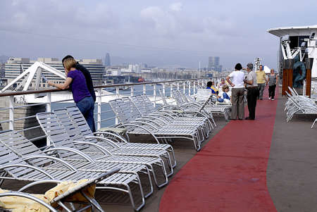 the bather: SPAIN  BARCELONA . .Trvelers at celebrity Constellation Cruise ship on saturady 9 October 2010     Editorial