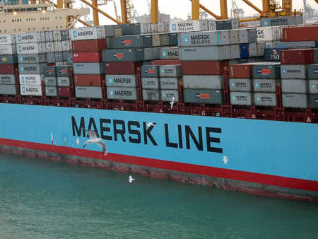 Spain Barcelona Ersk Line Been On Loading Containers At Stock