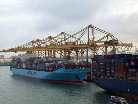 habour: SPAIN  BARCELONA .Maersk line been on loading containers at Barcelona port 9 Oct. 2010   Editorial
