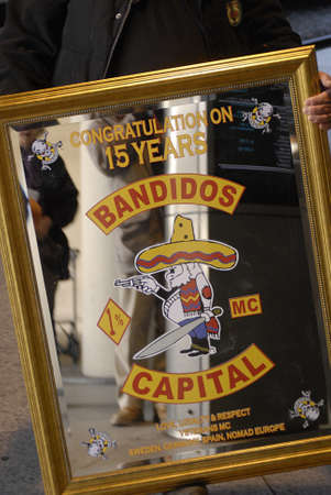 miror: DENMARK  COPENHAGEN .Miror glass with text 15 years jubelee celebration of swedish bandidos