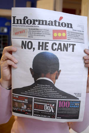DENMARK  COPENHAGEN . Danish daily predictions about president obama NO,HE CAN´T  mid teersm United States Eelection tomorrow on Tuesday 2 Nov. 2010,Informtion prediuct today on monday 1 Nov. 2010    Editorial