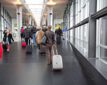 kastrup: DENMARK  COPENHAGEN . Travellers approching to terminal three at Copenhagen International airport Kastrup on 6 Nov. 2010   Editorial