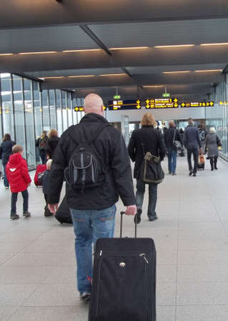 DENMARK  COPENHAGEN . Travellers approching to terminal three at Copenhagen International airport Kastrup on 6 Nov. 2010