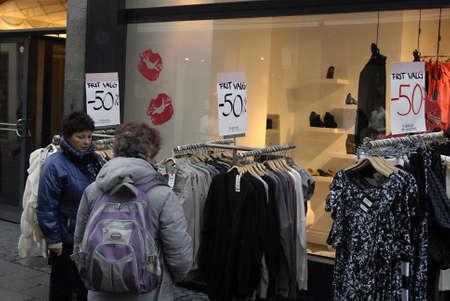 polictis: DENMARK  COPENHAGEN .Textile item minus 50% discount sale today 12 Nov. 2010    Editorial