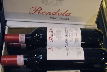 wine stocks: DENMARK  COPENHAGEN . Red Rendola wine bottles for sale 12 Nov. 2010    Editorial
