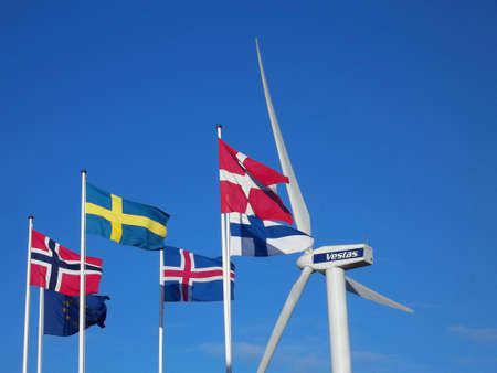 vestas: DENMARK  COPENHAGEN .  Nordic countries flags with European union flag 15 Nov. 2010    Editorial