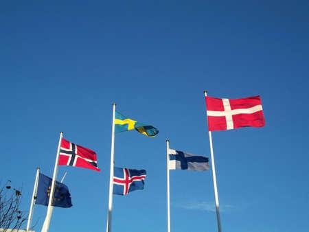 vestas: DENMARK  COPENHAGEN .  Nordic countries flags with European union flag 15 Nov. 2010   Editorial