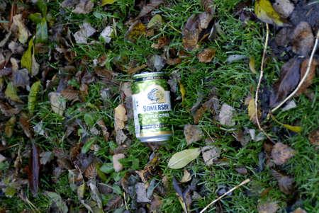 KASTRUPCOPENHAGENDENMARK _ Somersby apple cider empty can in waste 17 Nov. 2010