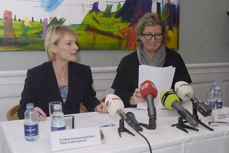 educations: DENMARK  COPENHAGEN . Danish minister for education Tina Nedergaard (L) and Charlotte Sahl-Madsen minister for science and Techinology hold jopint press conference tdoay at ministry for education to high light government plans to danish student, governme Editorial