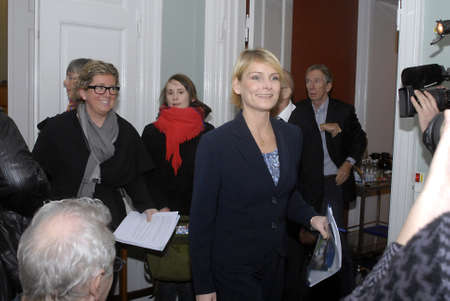 ministers: DENMARK  COPENHAGEN . Danish minister for education Tina Nedergaard (L) and Charlotte Sahl-Madsen minister for science and Techinology hold jopint press conference tdoay at ministry for education to high light government plans to danish student, governme Editorial