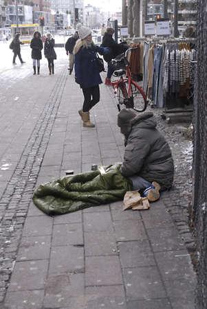 DENMARK  COPENHAGEN .Homeless  in coldweather  minus 4 on street in Denmark 01 Nov. 2010    Editorial