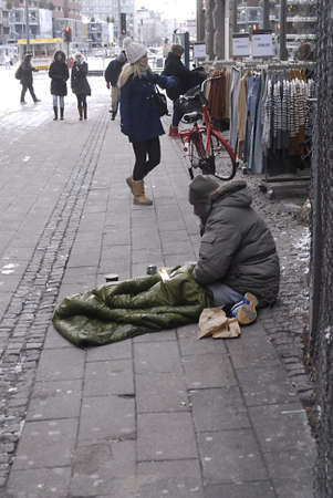 DENMARK  COPENHAGEN .Homeless  in coldweather  minus 4 on street in Denmark 01 Nov. 2010    Editorial
