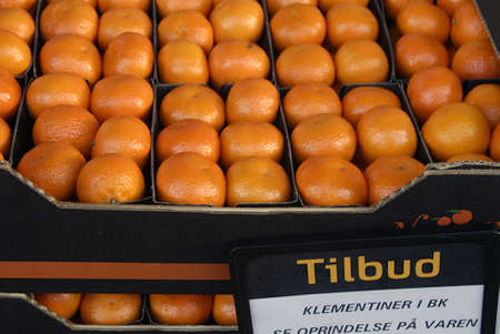 clementine fruit: DENMARK  COPENHAGEN_  Clementine fruit on sale at suerpmarket 03 Dec. 2010    Editorial