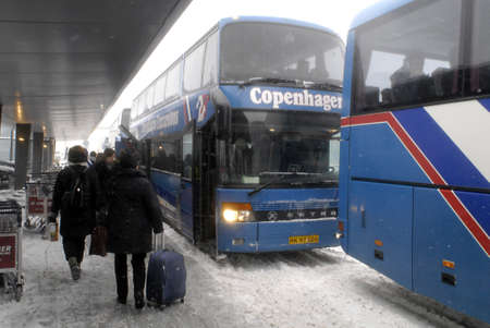 DENMARK  COPENHAGEN .DSB-Danish public transport system arranged shuttle buses between CopenhagenDenmark to Mamlo Sweden for transport beacuse of heavy snow fall in Denmark since all train system bewten Denamrk and Sweden is shut down due to snaw fall s