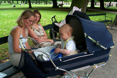 30-07-02-Kongens Have-Copenhage-Denmark,danishmother has right for full maternity benefit while on   maternity leave,but danish mother does not get fullmaternity allowance if she works in financial sector,there iks conflict in law. Stock Photo - 8500831
