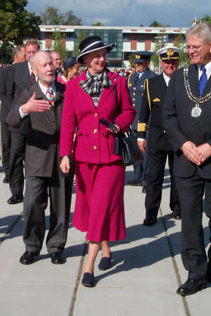 age 5: COPENHAGEN DENMARK _H.M.The Queen Margrethe II & H.R.H.Prince Henrik are official guests of Honour to celebrate Roedovre County 100 years jubilee,Lene Forsgaard at age 5 years prsented flowers to Queen margrethe and royals are wlcome by County lord mayer