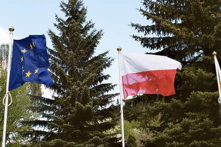 francis dean: May 17,2004 Polanica Zdroj,Poland, European Union flag fling with Polish national at European Union political rally. Editorial
