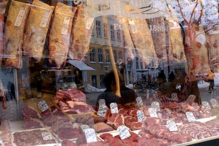 DENMARK  COPENHAGEN .Organic butcher shop from 1888 at kobermagergade 28 Dec. 2010