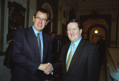 pm: Danish prime minister Poul Nyrup Rasmussen welcome Nato´s Secrertary General Lord G.Robertson PM office in Copenhagen Denmark November 25,1999