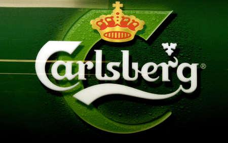 pilsner: DINAMARCA  COPENHAGUE.Logotipo de cerveza carlsberg dan�s 31 de diciembre de 2010     Editorial