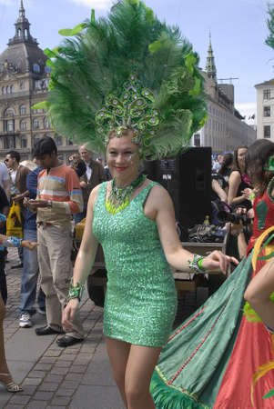 K�BENHAVN/COPENHAGEN/DANMARK /DENMARK. Danish pregnant females participate in annual Danish Samba dance carnival festival, there are also other females and males pariticipating in smaba dance festival carnival in Copenhagen Denmark on 30 May 2009    Stock Photo - 8526126