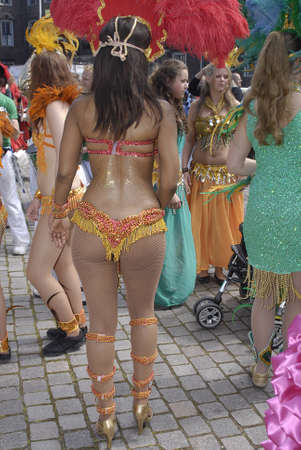 KØBENHAVN/COPENHAGEN/DANMARK /DENMARK. Danish pregnant females participate in annual Danish Samba dance carnival festival, there are also other females and males pariticipating in smaba dance festival carnival in Copenhagen Denmark on 30 May 2009      Stock Photo - 8526134
