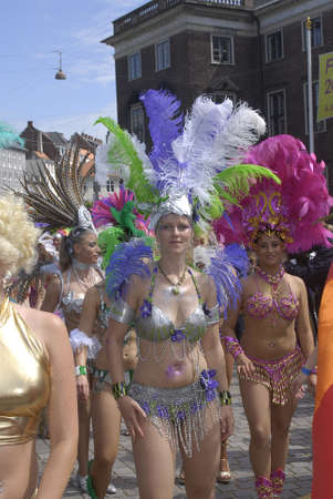 K�BENHAVN/COPENHAGEN/DANMARK /DENMARK. Danish pregnant females participate in annual Danish Samba dance carnival festival, there are also other females and males pariticipating in smaba dance festival carnival in Copenhagen Denmark on 30 May 2009      Stock Photo - 8526121