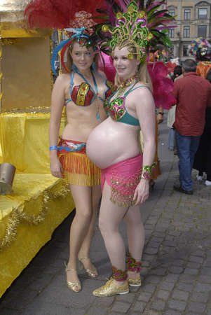 KØBENHAVN/COPENHAGEN/DANMARK /DENMARK. Danish pregnant women at samba dance carnival , danish women are more freeminded and they are not shy to show their pregancy,  pregnant women in action in Copenhagen 30 May 2009     Stock Photo - 8526127