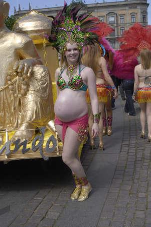 K�BENHAVNCOPENHAGENDANMARK DENMARK. Danish pregnant women at samba dance carnival , danish women are more freeminded and they are not shy to show their pregancy,  pregnant women in action in Copenhagen 30 May 2009