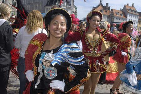 K�BENHAVN/COPENHAGEN/DANMARK /DENMARK. Danish pregnant females participate in annual Danish Samba dance carnival festival, there are also other females and males pariticipating in smaba dance festival carnival in Copenhagen Denmark on 30 May.2009 Stock Photo - 8526130