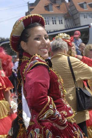K�BENHAVN/COPENHAGEN/DANMARK /DENMARK. Danish pregnant females participate in annual Danish Samba dance carnival festival, there are also other females and males pariticipating in smaba dance festival carnival in Copenhagen Denmark on 30 May 2009     Stock Photo - 8526111