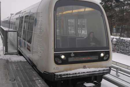 heave: KASTRUPCOPENHAGENDENMARK _    Metro compter train running on wronge track beacuse of heave snow falls weather in Denmark, ther have been transport distrution todady on 6 Jan. 2011   Editorial