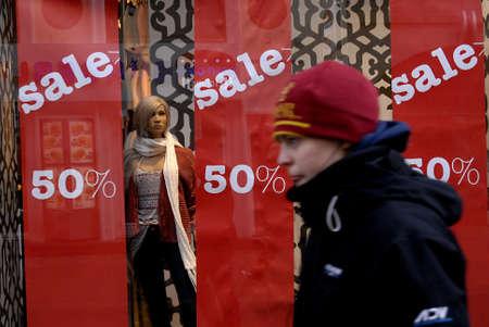 shoppings: DENMARK  COPENHAGEN . Still new year sale in various stores and shops in Denmark 12 Jan. 2011    Editorial