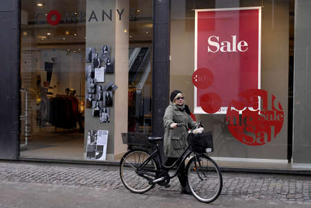 shoppings: DENMARK  COPENHAGEN . Still new year sale in various stores and shops in Denmark 12 Jan. 2011    Editorial